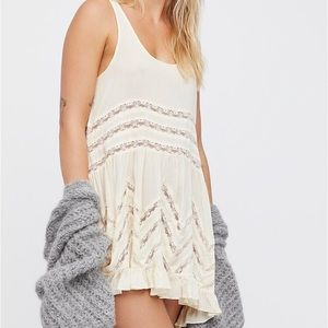 NWT Free People Voile and Lace Trapeze Slip in Tea